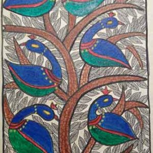 Painting-Card-of-Peacock-in-Mithila-Painting